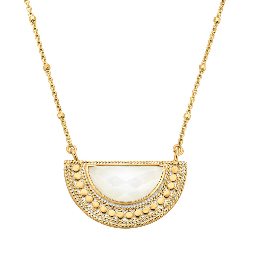 "Moonstone Half Moon Necklace 16-18"" (Double-Sided) - Gold"