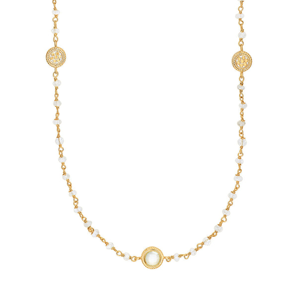 "Moonstone Multi-Disc Station Necklace 36""- Gold"