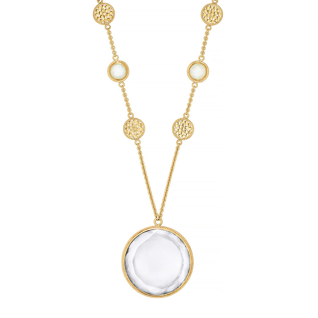 "Moonstone & Crystal Circle Pendant Necklace 30"" - Gold"