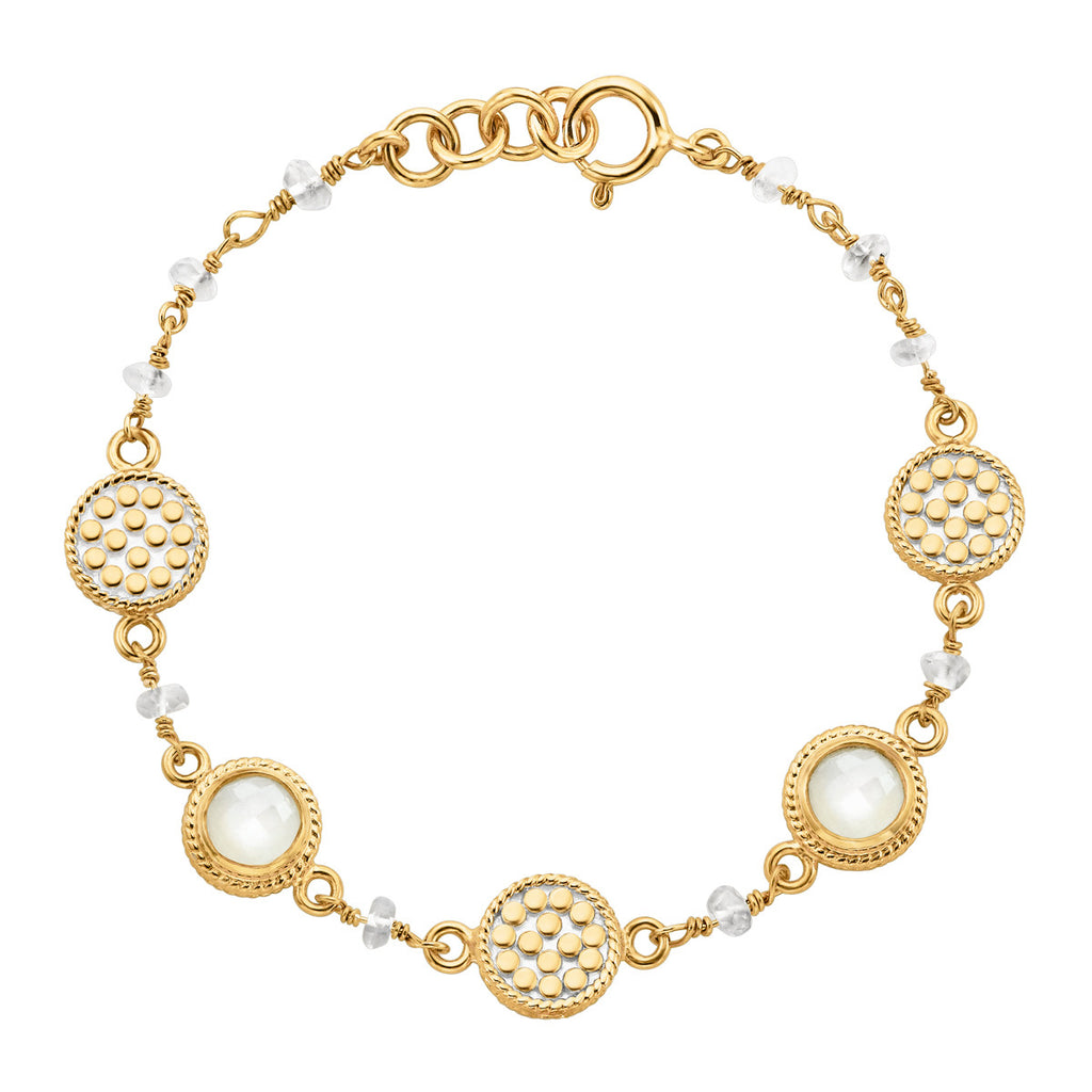 "Moonstone Multi-Disc Station Bracelet 7"" (Double-Sided) - Gold"