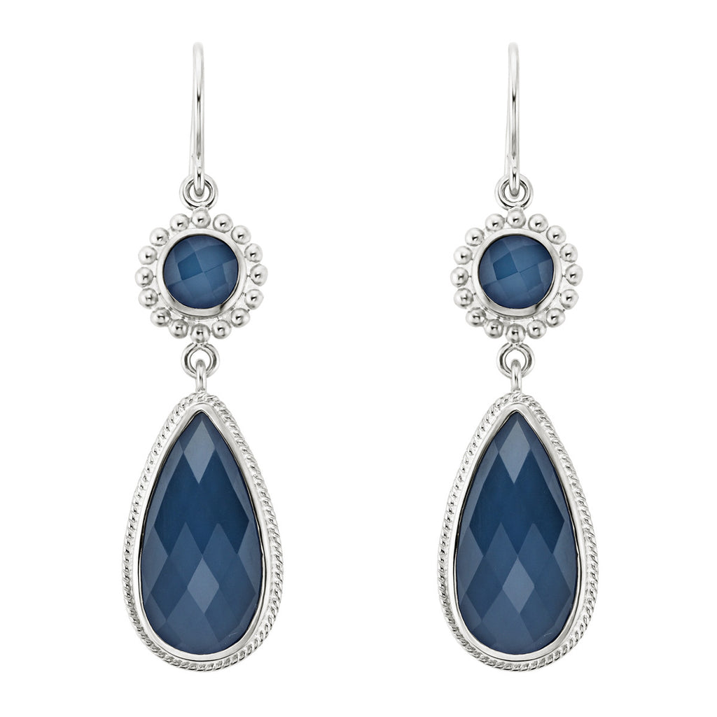 Blue Quartz Double Drop Earrings - Silver