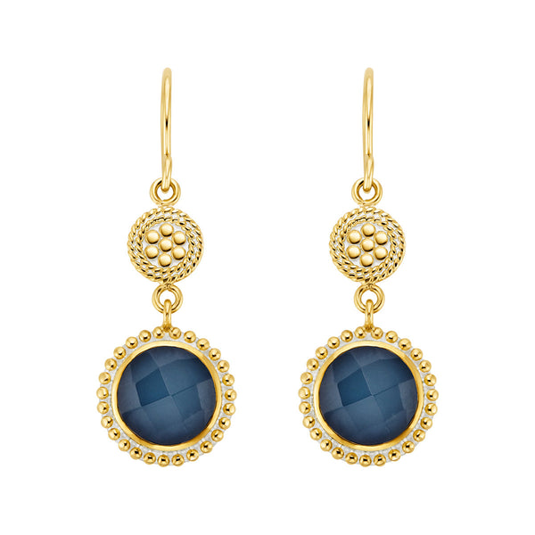 Blue Quartz Beaded Double Drop Earrings - Gold