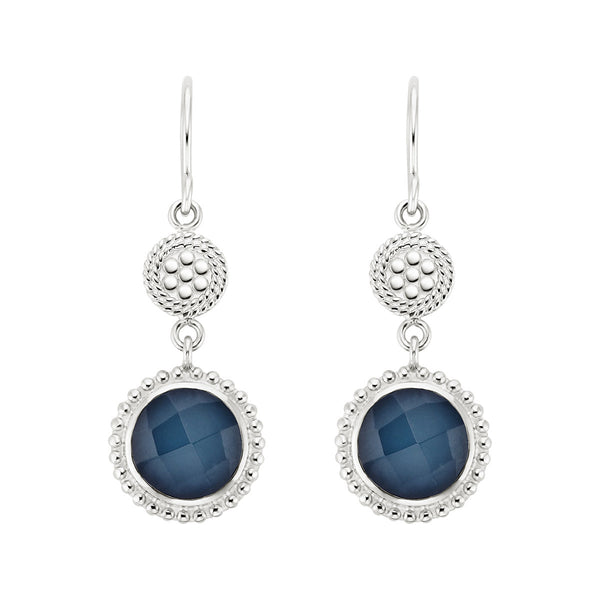 Blue Quartz Beaded Double Drop Earrings - Silver