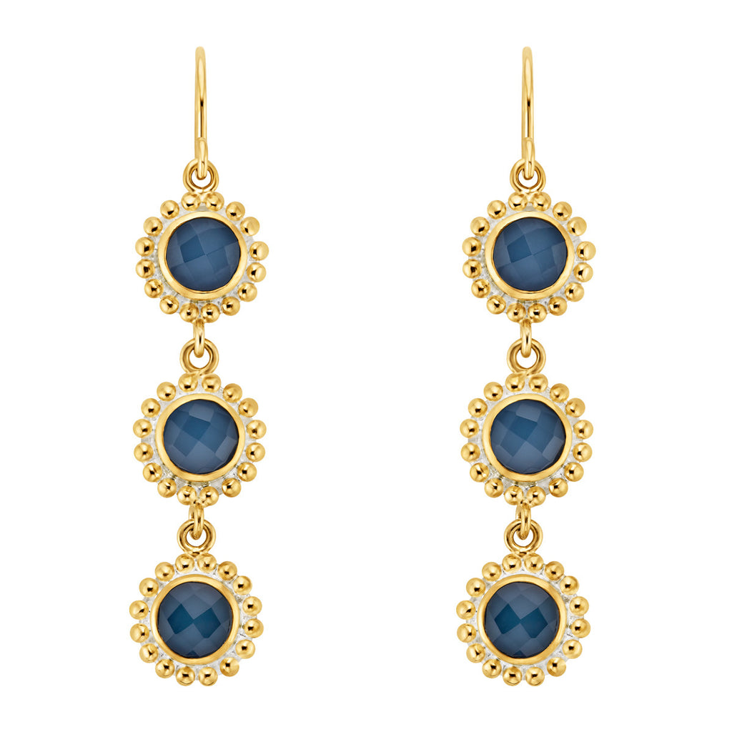 Blue Quartz Beaded Triple Drop Earrings - Gold