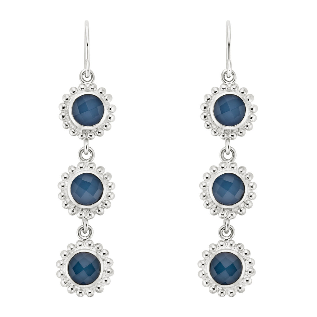 Blue Quartz Beaded Triple Drop Earrings - Silver