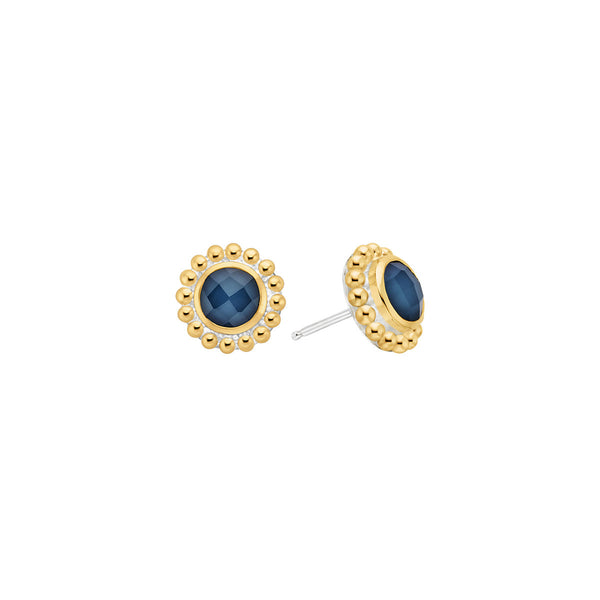 Blue Quartz Beaded Stud Earrings - Gold