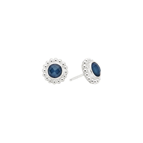 Blue Quartz Beaded Stud Earrings - Silver
