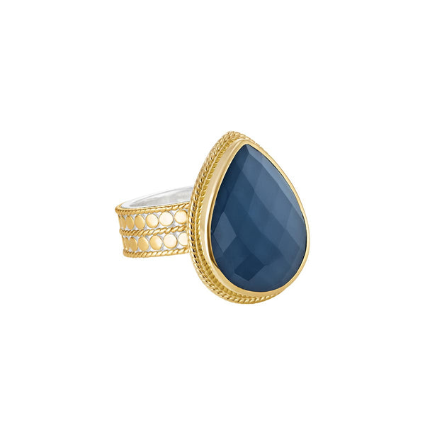 Blue Quartz Drop Ring - Gold