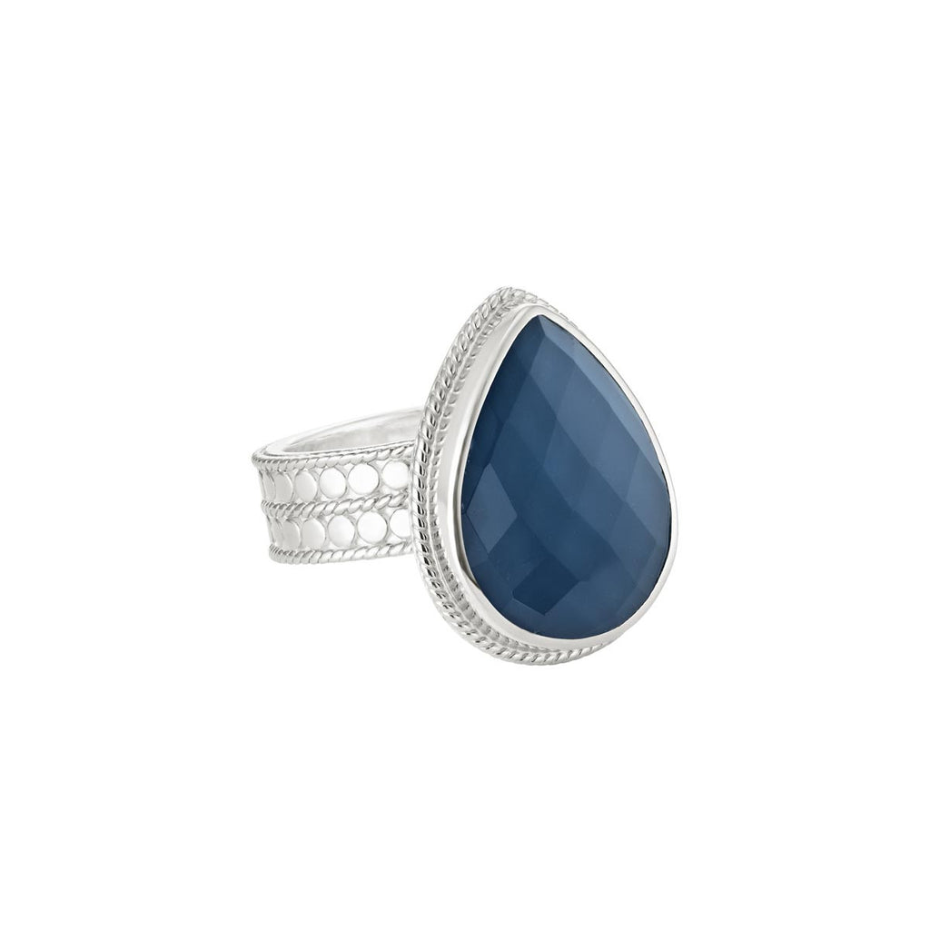 Blue Quartz Drop Ring - Silver