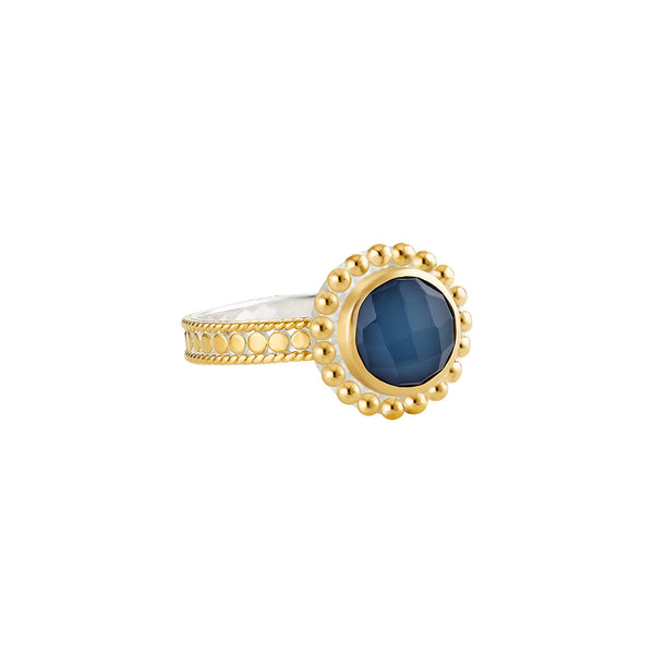 Blue Quartz Beaded Ring - Gold