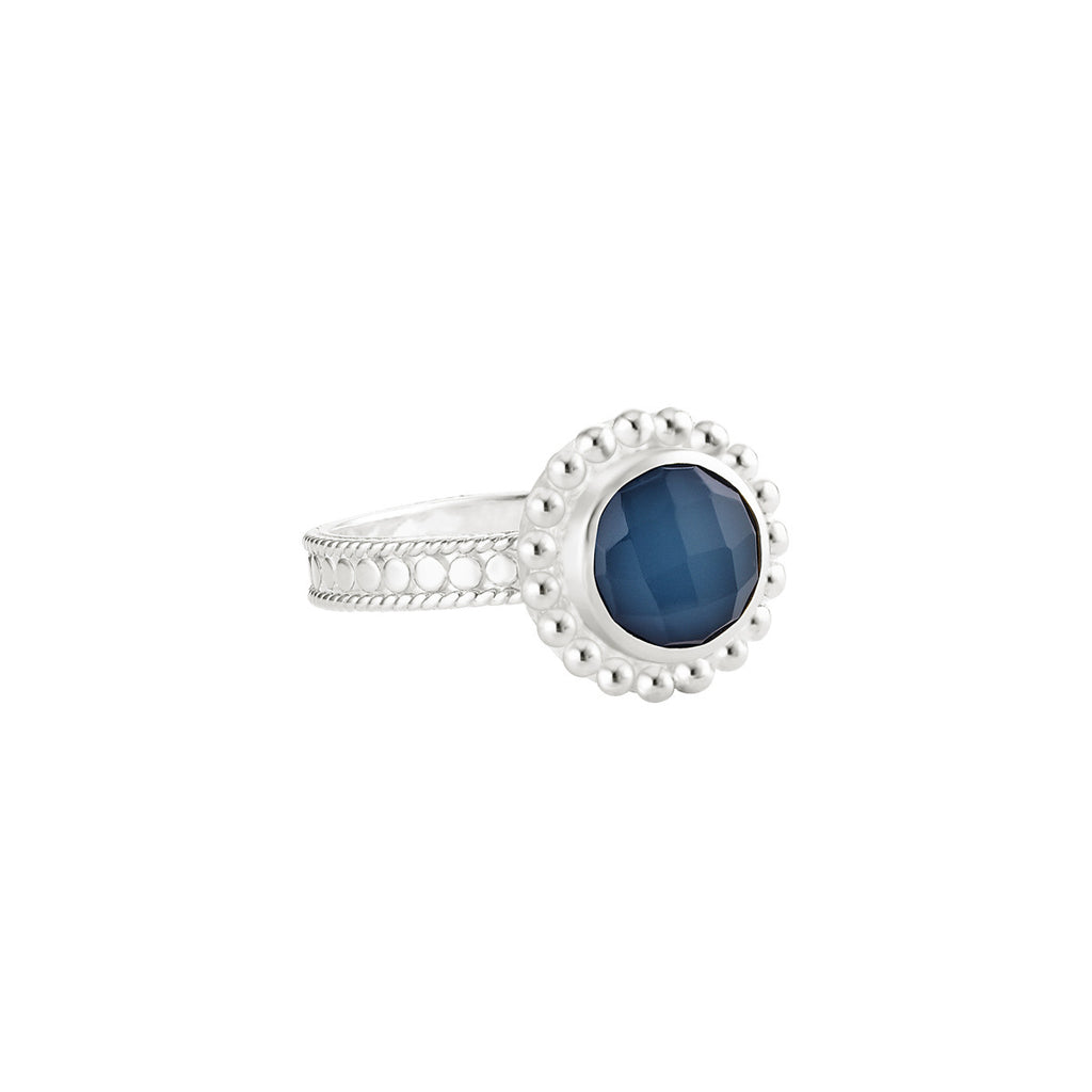Blue Quartz Beaded Ring - Silver