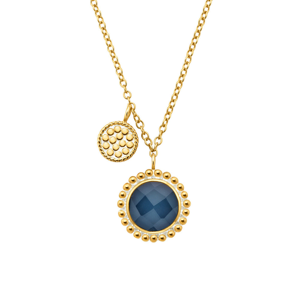 "Blue Quartz Double Disc Charm Necklace 16-18"" (Double-Sided) - Gold"