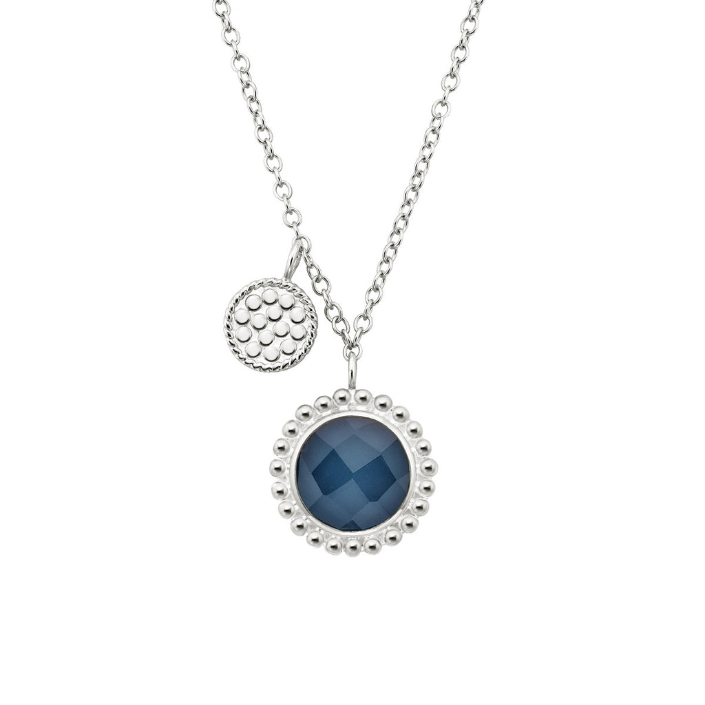 "Blue Quartz Double Disc Charm Necklace 16-18"" (Double-Sided) - Silver"