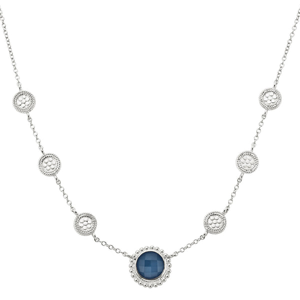 "Blue Quartz Multi-Disc Station Necklace 16-18"" (Double-Sided) - Silver"