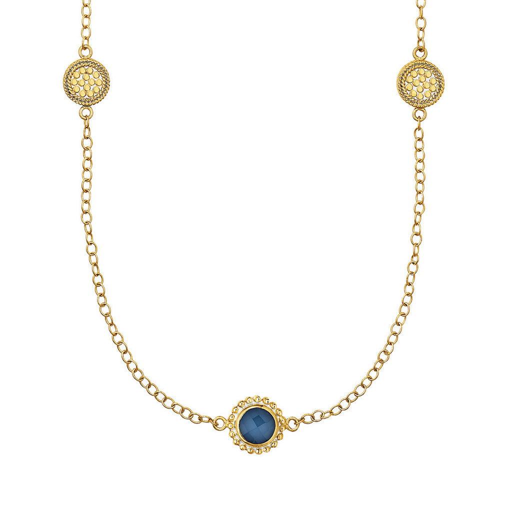 "Blue Quartz Multi-Disc Station Necklace 36"" - Gold"