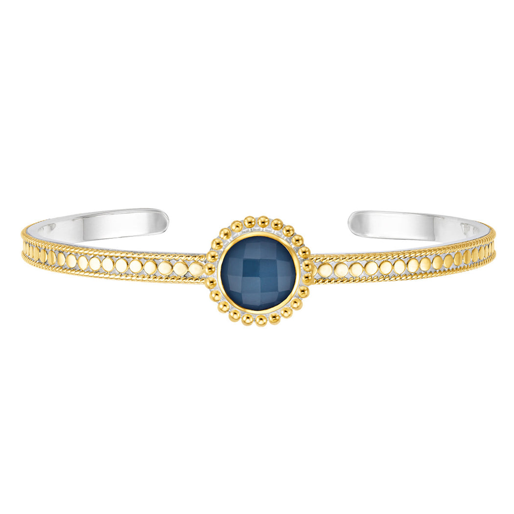 Blue Quartz Beaded Skinny Cuff - Gold