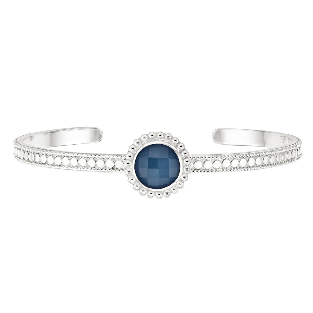 Blue Quartz Beaded Skinny Cuff - Silver
