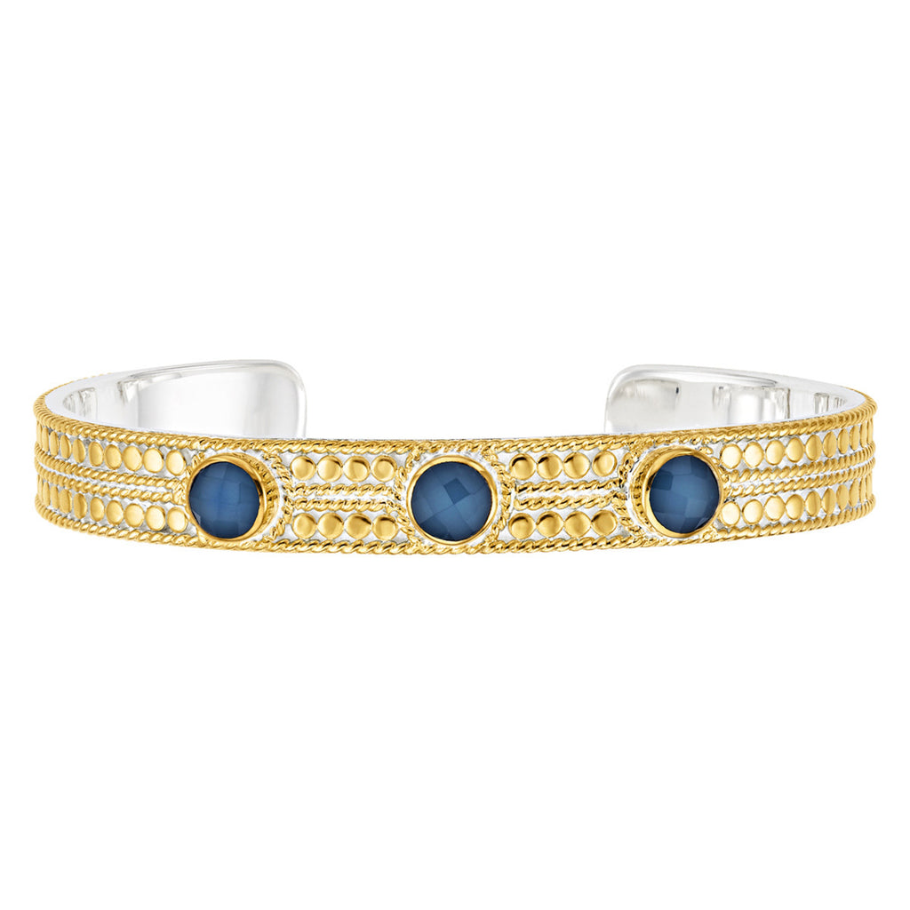 Blue Quartz Cuff - Gold