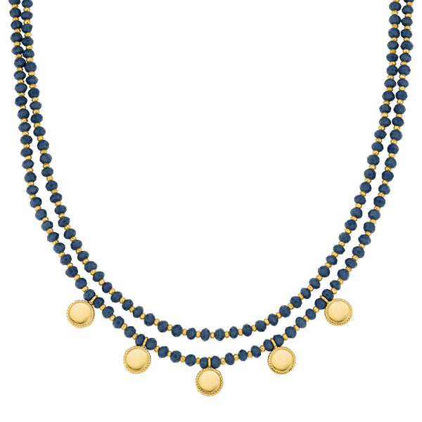 "Limited Edition - Blue Quartz Beaded Double Strand Necklace 16-18"" (Double-Sided) - Gold"