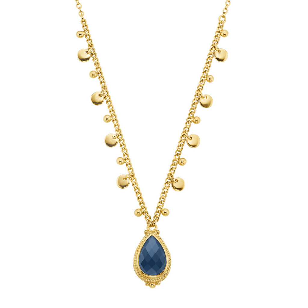 "Blue Quartz Drop Pendant Necklace 16-18"" - Gold"