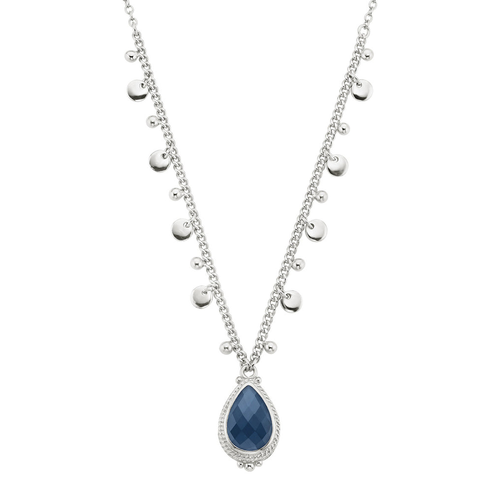 "Blue Quartz Drop Pendant Necklace 16-18"" - Silver"