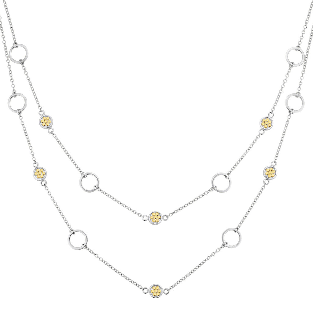 "Signature Double Strand Multi-Disc Open Circle Necklace 15-17"" - Gold & Silver"