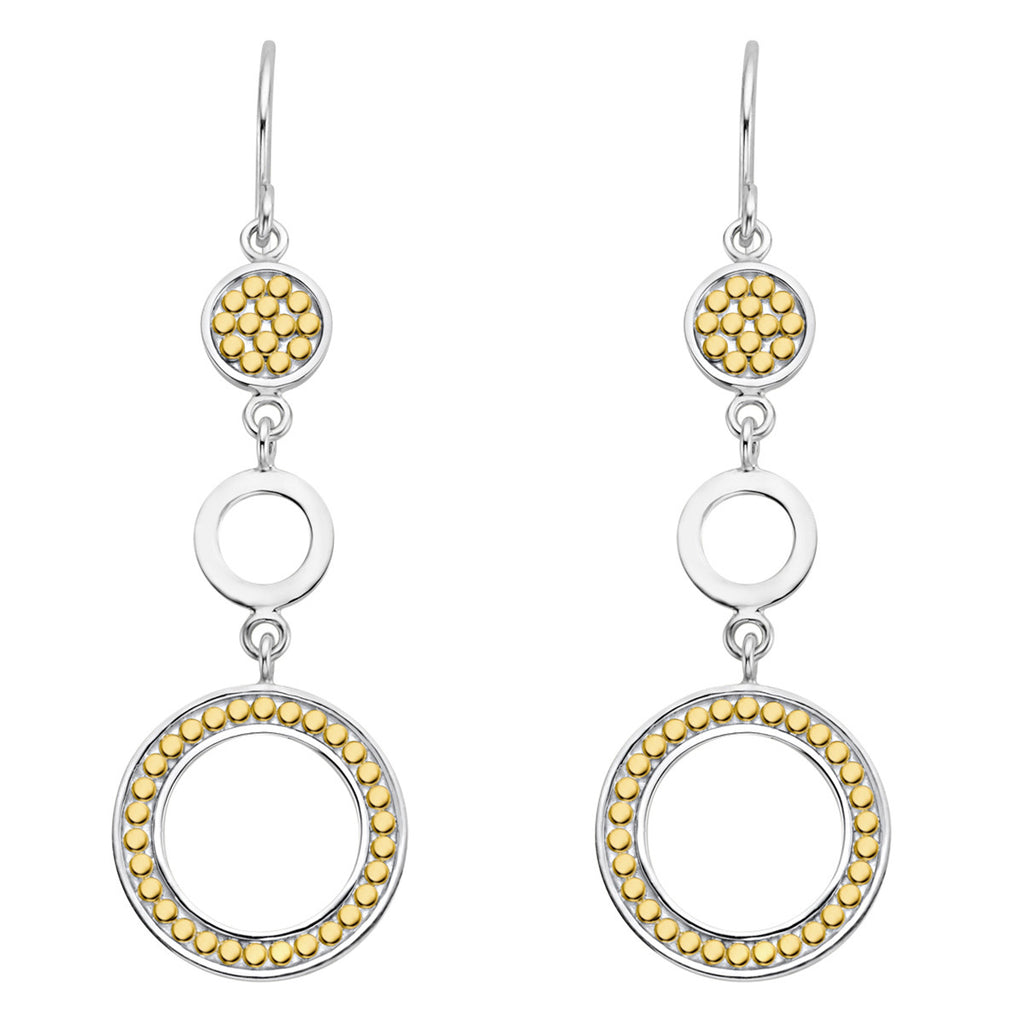 Signature Multi-Disc Open Circle Drop Earrings - Gold & Silver