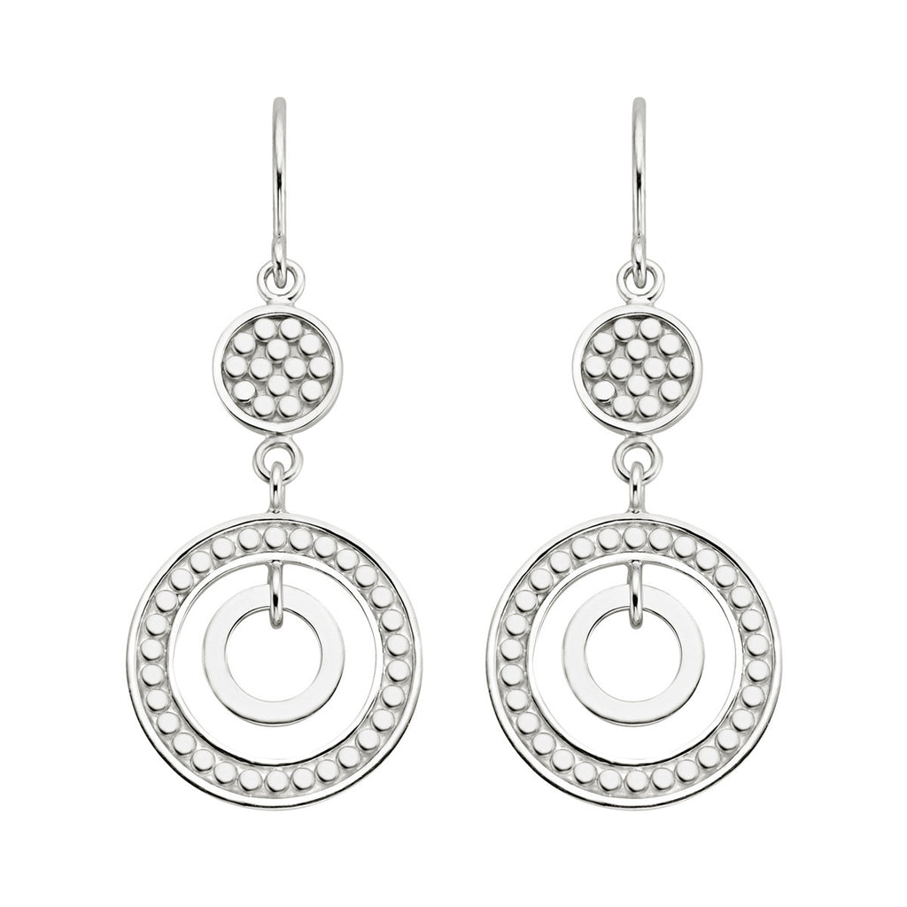 Signature Double Open Circle Drop Earrings - Silver