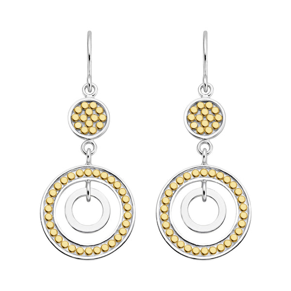 Signature Double Open Circle Drop Earrings - Gold & Silver