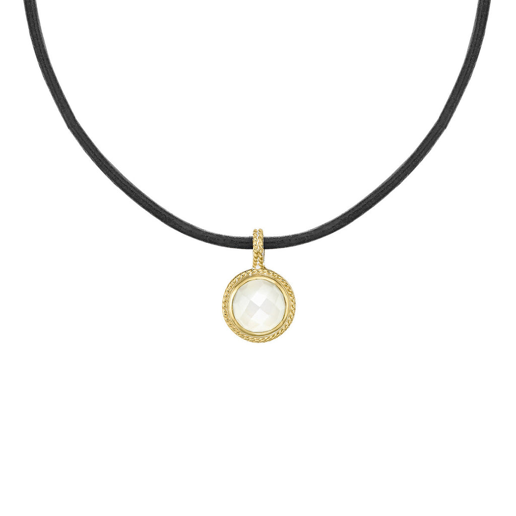 "Limited Edition - Moonstone Disc Choker 12-14"" (Double-Sided) - Gold"