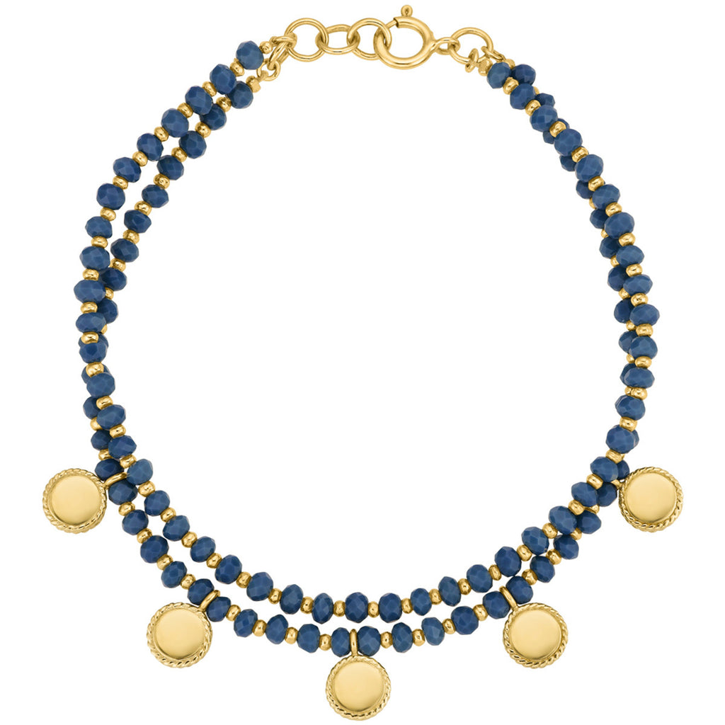 "Limited Edition - Blue Quartz Beaded Double Strand Bracelet 7"" (Double-Sided) - Gold"