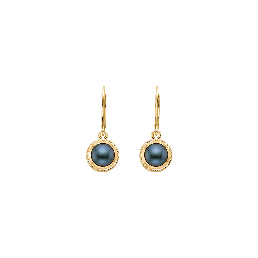 Blue Pearl Drop Earrings - Gold