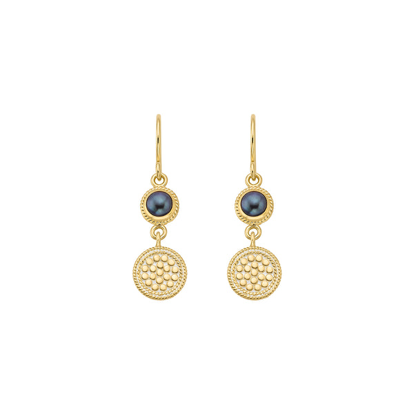 Blue Pearl Double Drop Earrings - Gold