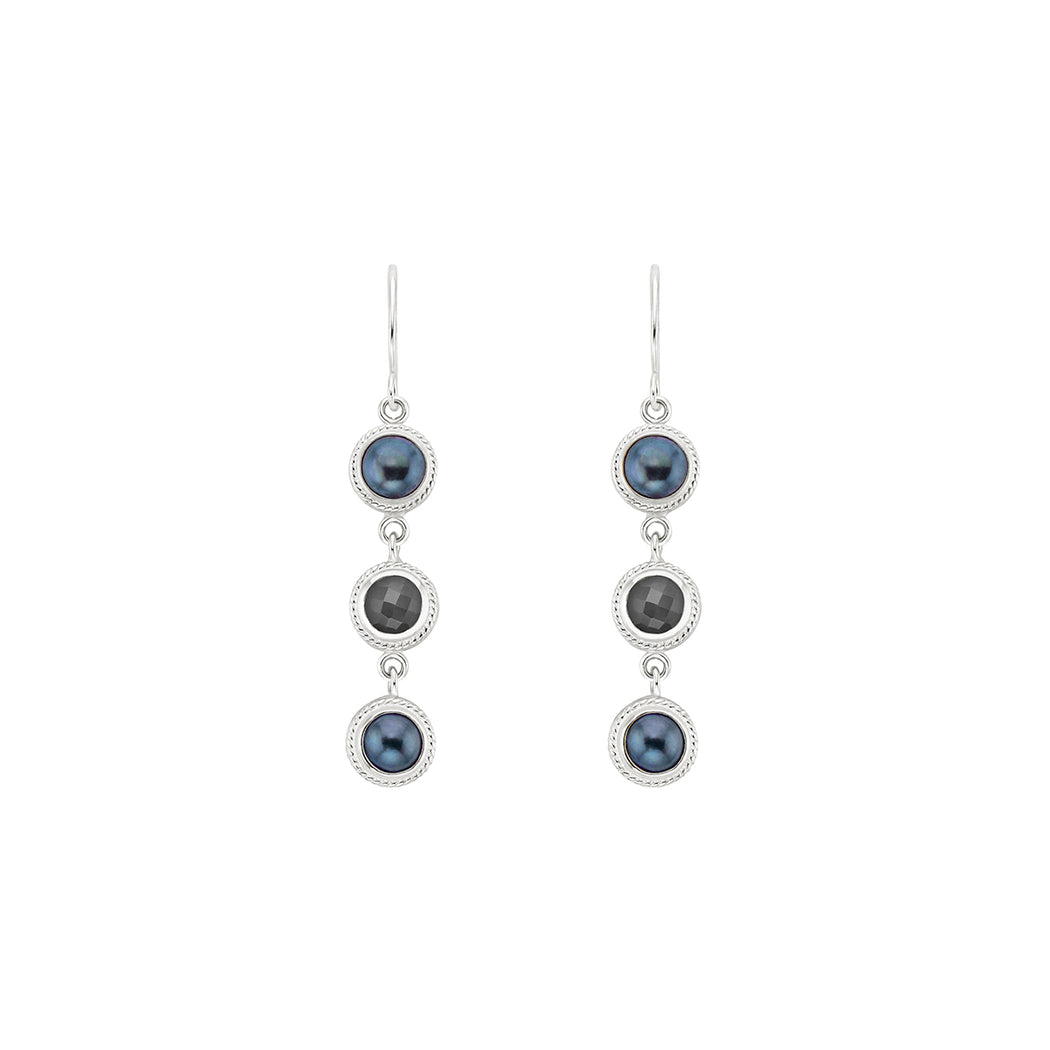 Blue Pearl & Grey Sapphire Triple Drop Earrings - Silver