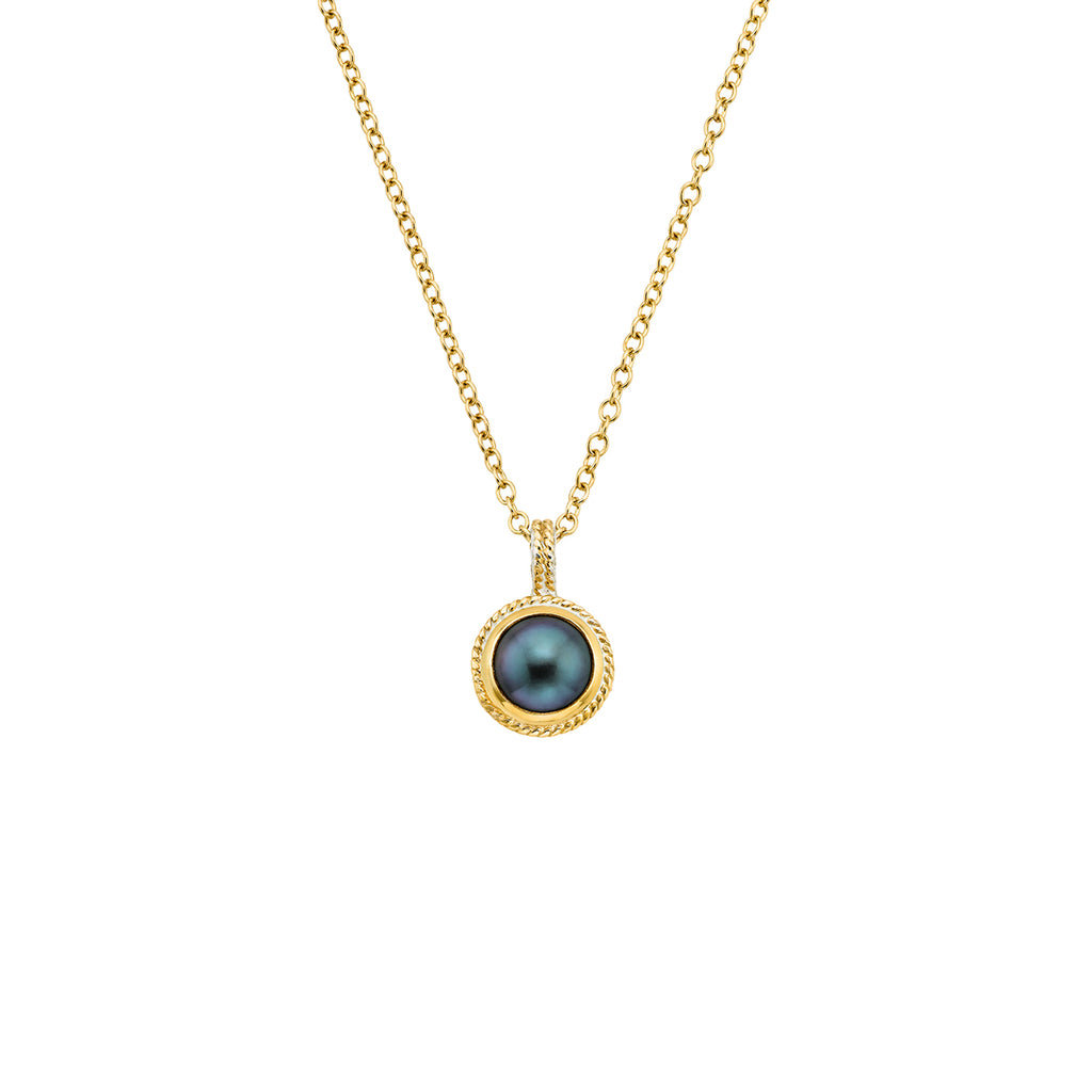 Blue Pearl Pendant Necklace - Gold