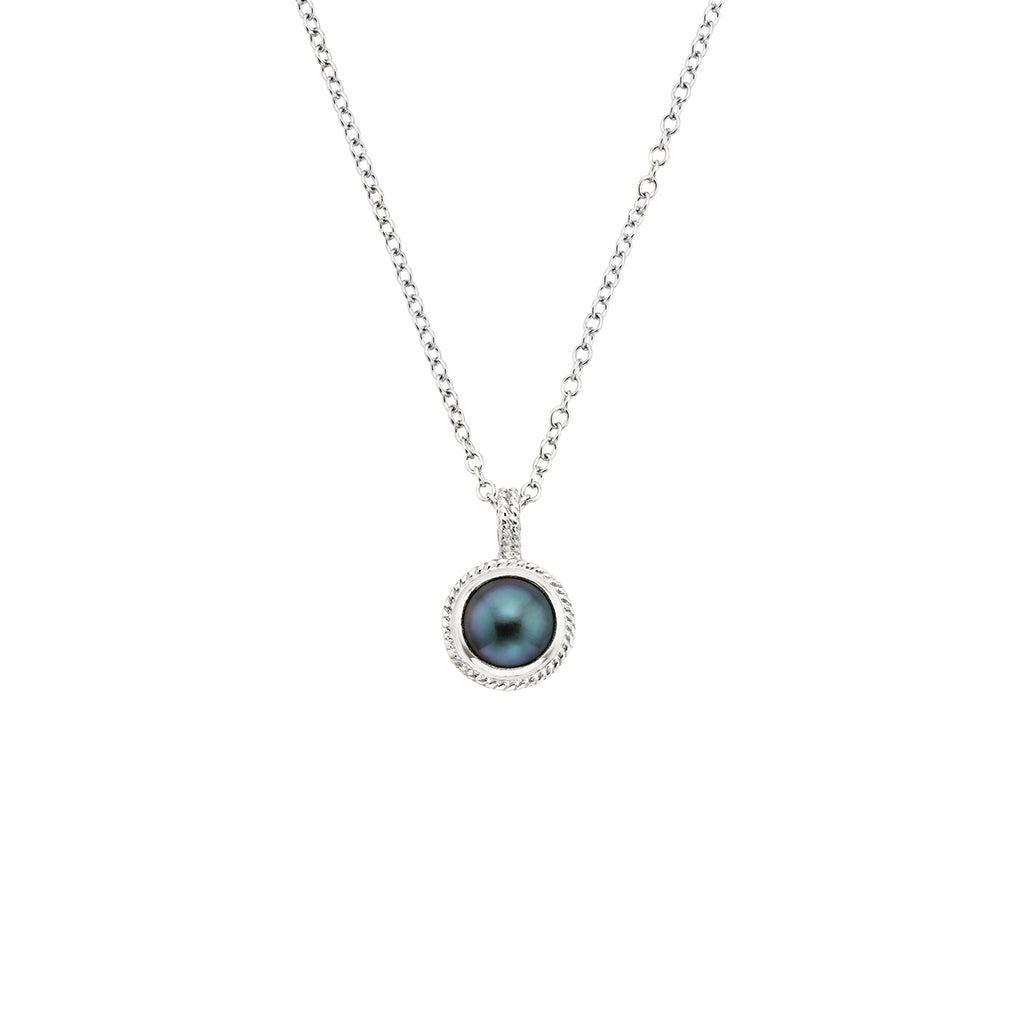 Blue Pearl Pendant Necklace - Silver