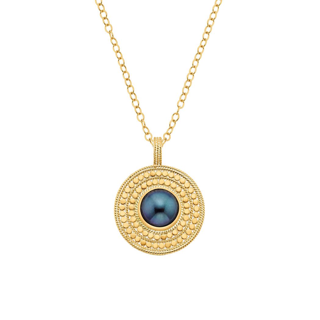 Blue Pearl Medallion Pendant Necklace - Gold