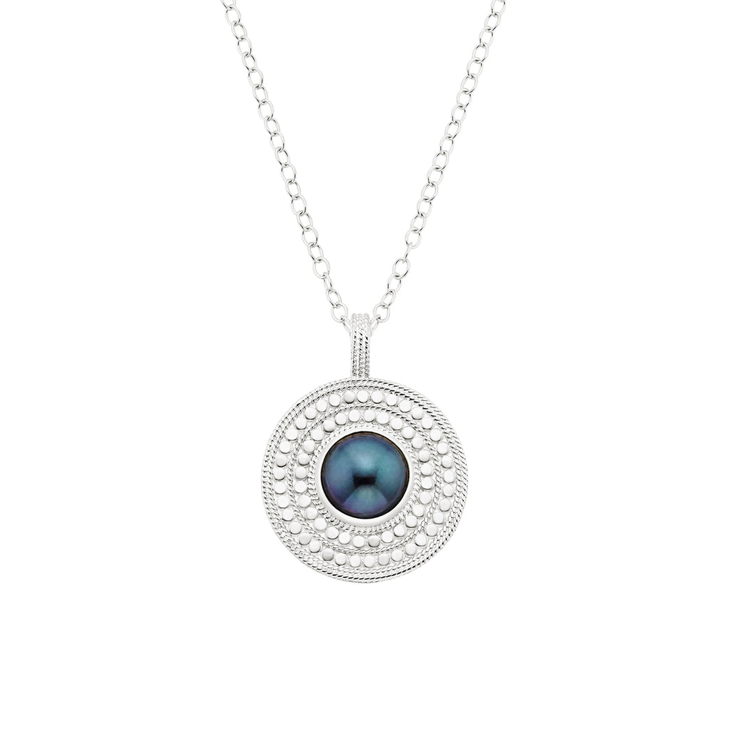Blue Pearl Medallion Pendant Necklace - Silver
