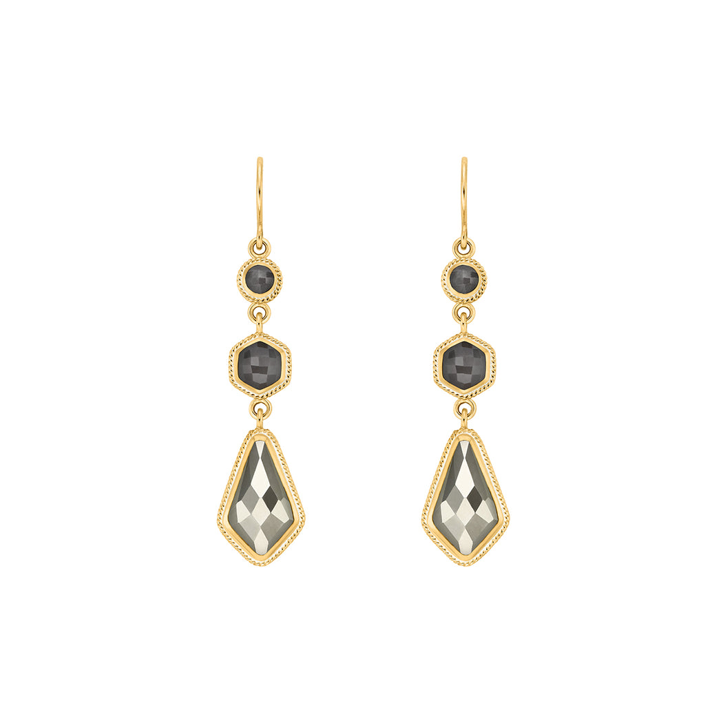 Grey Sapphire & Pyrite Kite Triple Drop Earrings - Gold