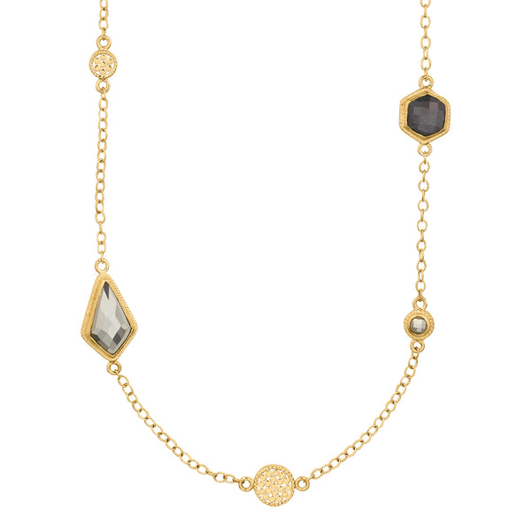 Grey Sapphire & Pyrite Multi-Disc Station Necklace - Gold