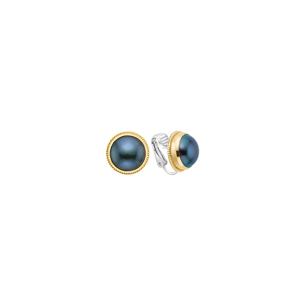 Blue Pearl Clip-On Earrings - Gold