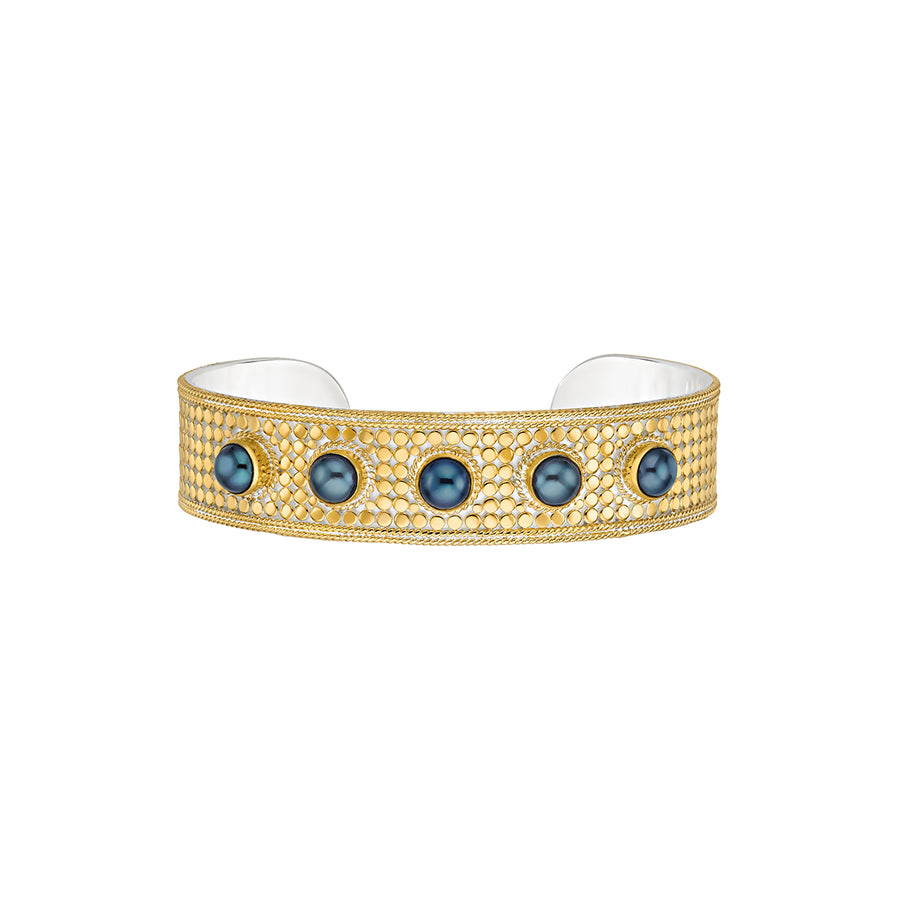 Blue Pearl Multi-Stone Cuff - Gold