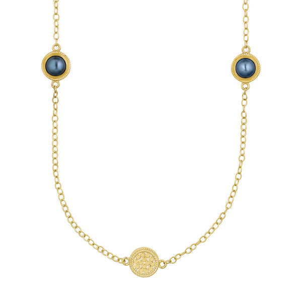 Blue Pearl Multi-Disc Station Necklace - Gold