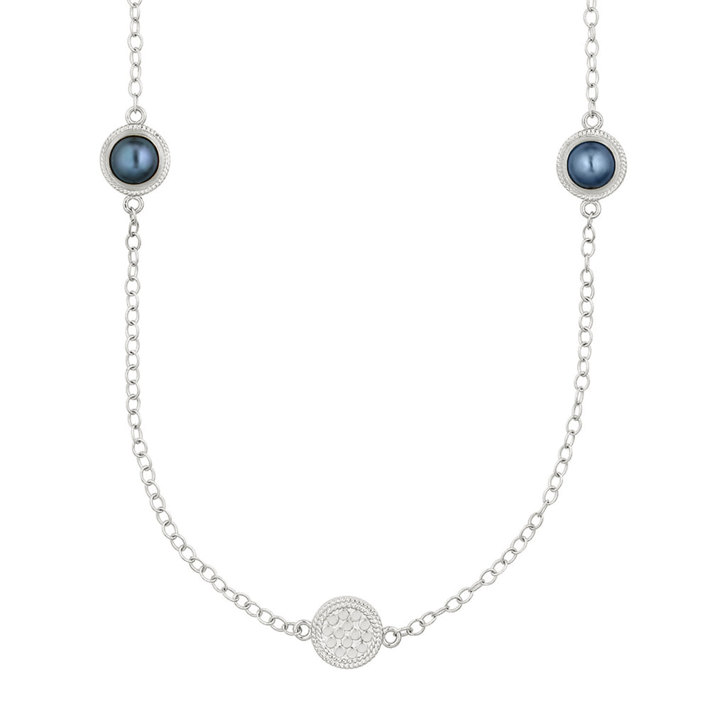 Blue Pearl Multi-Disc Station Necklace - Silver