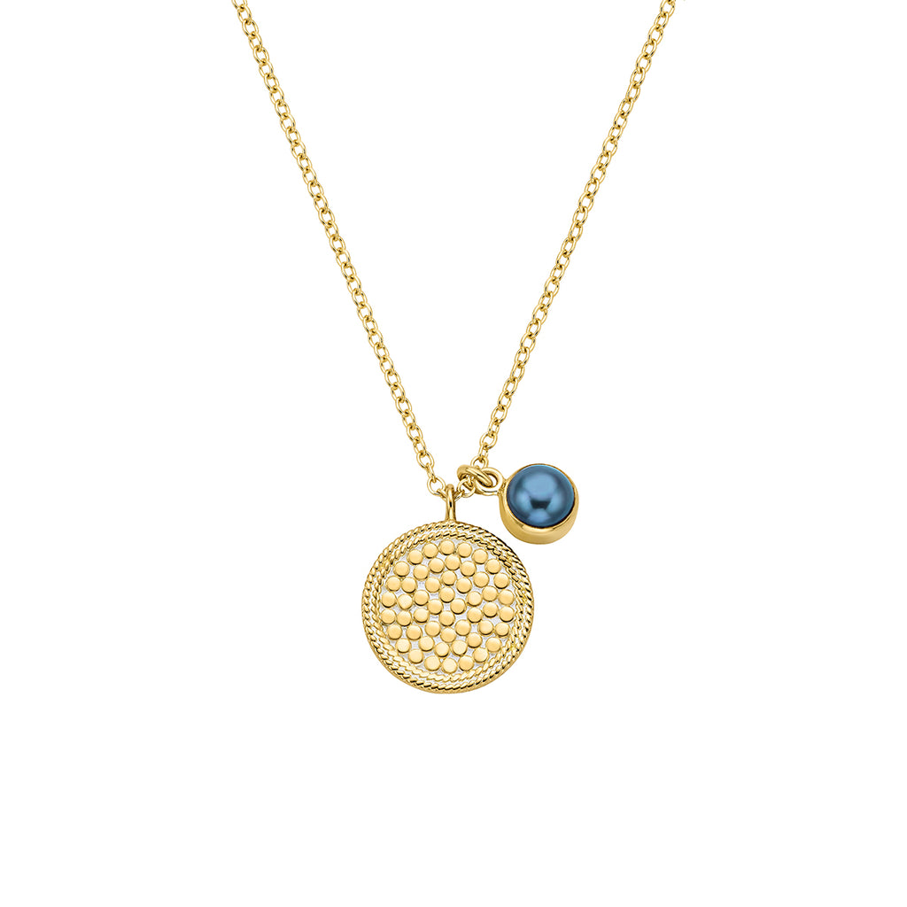 Blue Pearl Double Disc Pendant Necklace - Gold