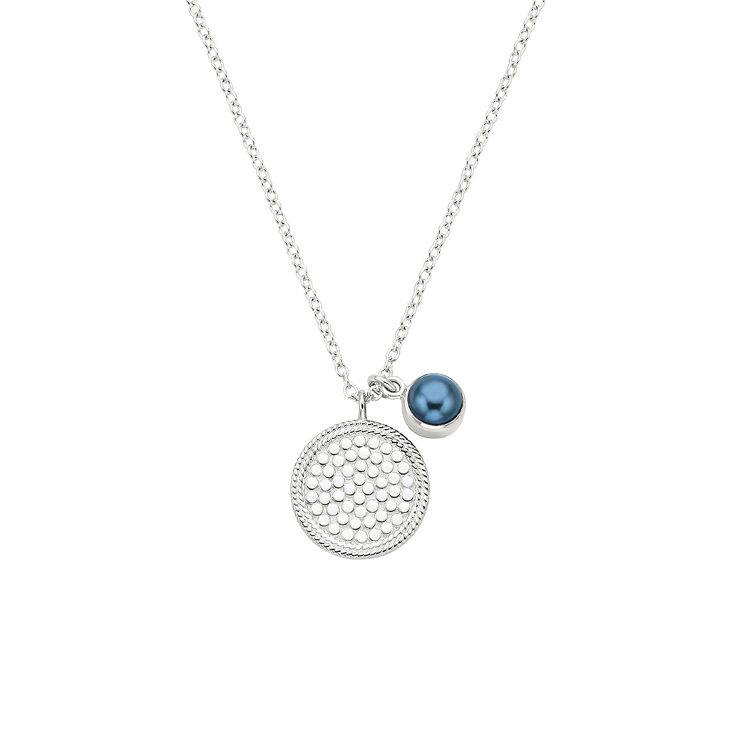Blue Pearl Double Disc Pendant Necklace - Silver