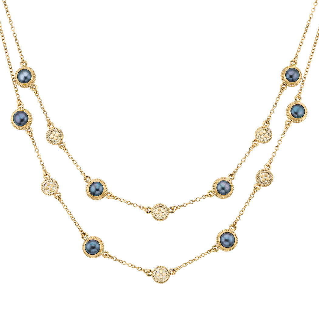 Blue Pearl Multi-Disc Double Strand Necklace - Gold