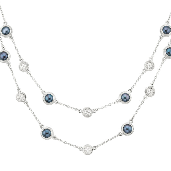 Blue Pearl Multi-Disc Double Strand Necklace - Silver