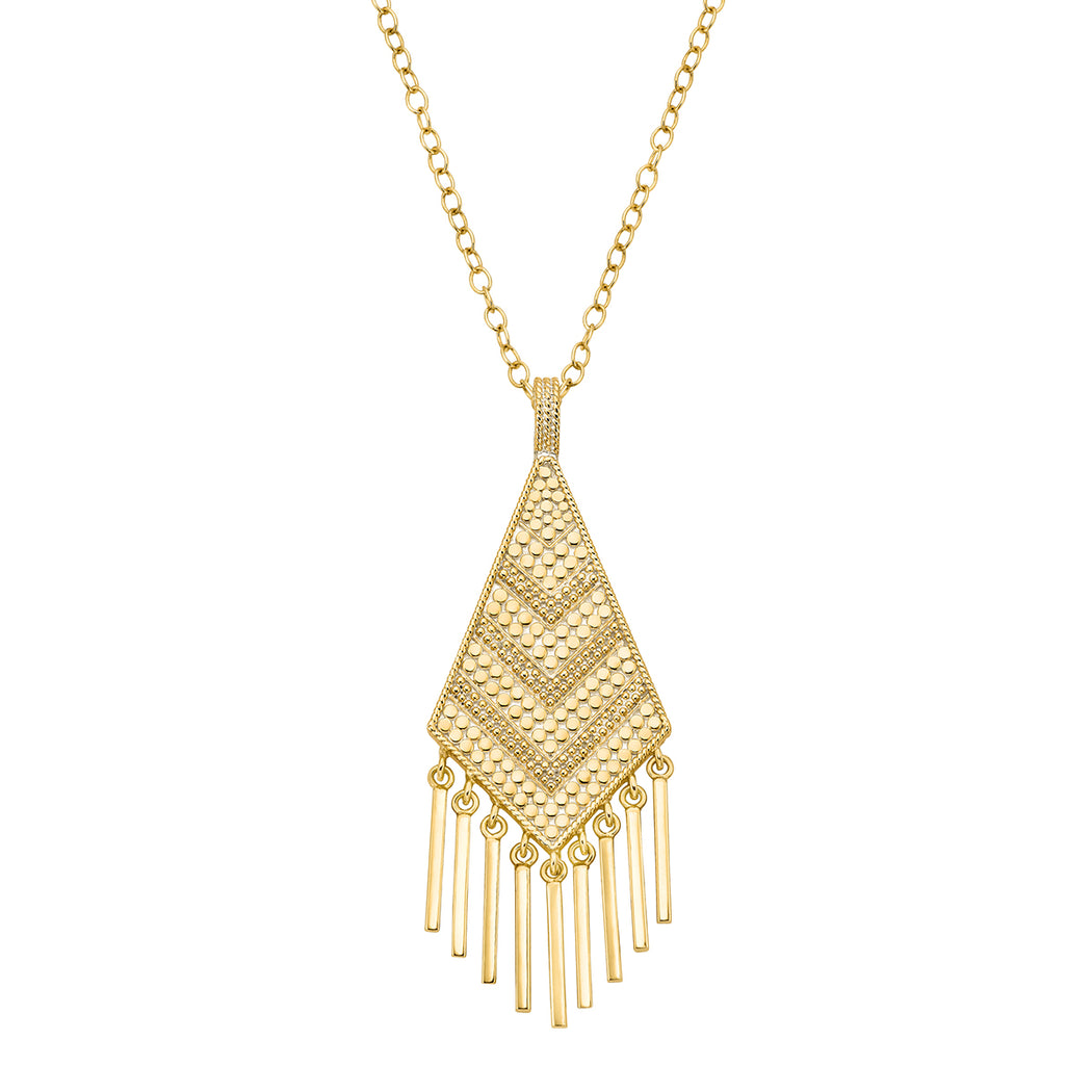 Grey Sapphire & Pyrite Kite Fringe Pendant Necklace - Gold
