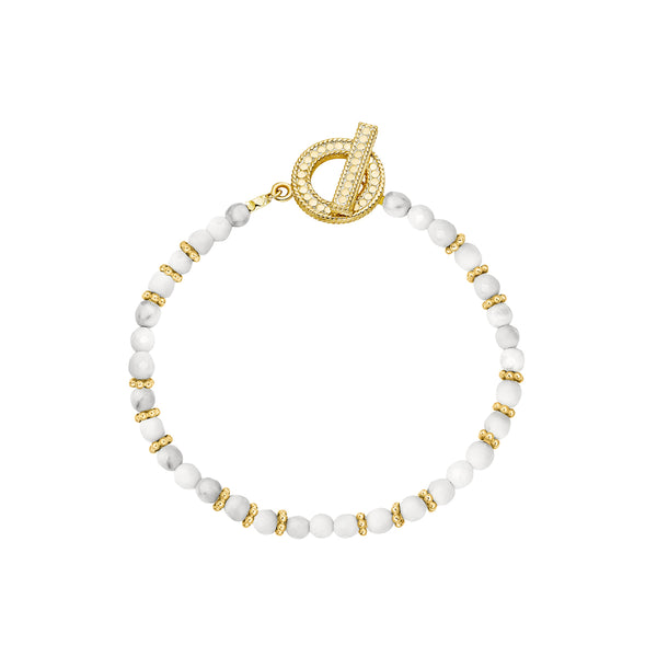 Howlite Beaded Bracelet - Gold